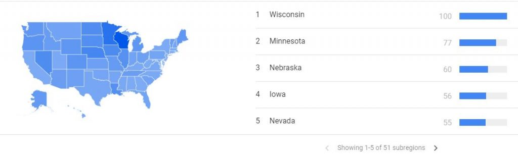 Wisconsin is number one in Bloody Mary search terms